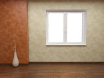 Beige and orange walls with window Royalty Free Stock Photography