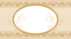 Beige ornamental seamless arabic border with frame. Illustration Stock Photo