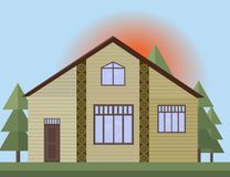 Beige painted Wooden house facade in the forrest. Vector illustration sunset background. S Royalty Free Stock Photography