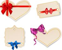 Beige paper card templates with satin bow. stock illustration
