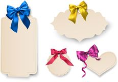 Beige paper card templates with satin bow. Beige paper decorative card templates with beautiful colorful satin bow. Vector illustration Royalty Free Stock Photos