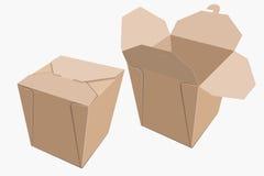 Beige Papierbehälter chinesisches Lebensmittel Magazinlieferung Vektor Stockbild