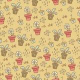 Beige patroon met bloempotten Stock Foto's