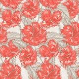 Beige patroon met hibiscus vector illustratie