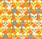 Beige pattern with cartoon cats Stock Photography