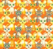 Beige pattern with cartoon cats. Beige seamless pattern with cartoon cats Stock Photography