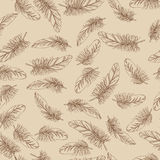 Beige pattern with feathers. Beige seamless pattern with feathers Royalty Free Stock Photography