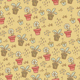 Beige pattern with flower pots Stock Photos