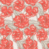 Beige pattern with hibiscus Stock Photos