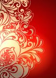 Beige patterns on a red background stock illustration