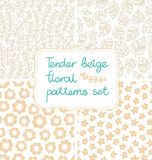 Beige patterns set Stock Images