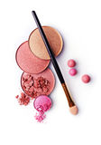 Beige and pink crushed eyeshadows and blush Stock Photo