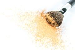 Beige Powder Eyeshadow on a Brush, fashion beauty Stock Photography