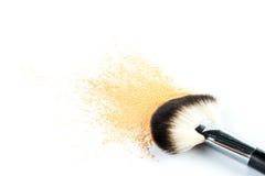 Beige Powder Eyeshadow on a Brush, fashion beauty Royalty Free Stock Image