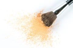 Beige Powder Eyeshadow on a Brush, fashion beauty Royalty Free Stock Photography