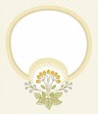 Beige prentbriefkaar, beige kader, bloem met bessen Stock Fotografie