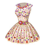 Beige Princess dress inlaid with precious stones Stock Photography