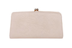 Beige purse isolated on white Royalty Free Stock Images