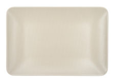 Beige rectangular plate isolated on white background. Stock Image
