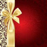 Beige and red background  bow Royalty Free Stock Photo