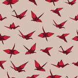 Beige and red crane origami seamless vector pattern stock illustration