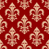 Beige and red french fleur-de-lis seamless floral pattern Stock Images