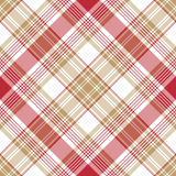 Beige red white check diagonal plaid seamless pattern Stock Image