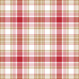 Beige red white check fabric texture seamless pattern. Vector illustration Stock Photos
