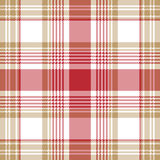 Beige red white check plaid seamless pattern Stock Photos