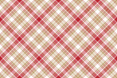 Beige red white plaid seamless background Stock Photo