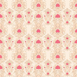 Beige retro pattern. Seamless retro beige pattern with leafs and berries Royalty Free Stock Photography