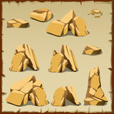 Beige rock of different shapes, 10 icons Royalty Free Stock Image