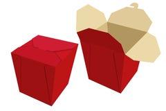 Beige roter Papierbehälter chinesisches Lebensmittel Magazinlieferung Vektor Stockbild