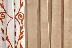 Beige Rough Rustic Barn Wooden Wall With Abstract Floral Pattern Royalty Free Stock Photos