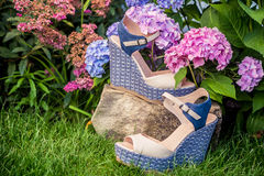 Beige sandals with blue soles lie. On the grass Royalty Free Stock Photo