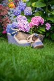 Beige sandals with blue soles lie on the grass. A Royalty Free Stock Image