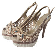 Beige  sandals Royalty Free Stock Photo