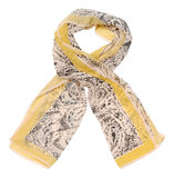 Beige scarf on white background Royalty Free Stock Photos