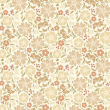 Beige seamless floral pattern. Vector illustration. Vector seamless pattern with beige flowers and leaves Stock Photos