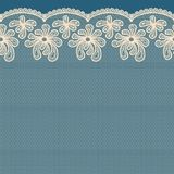 Beige seamless flower lace border Stock Photo