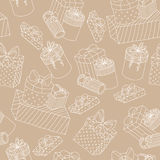 Beige seamless pattern with boxes of presents Stock Images