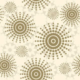 Beige seamless pattern with flowers, circles and dots. Royalty Free Stock Photography