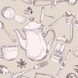 Beige seamless pattern of kitchen utensils vintage. Vector Royalty Free Stock Images