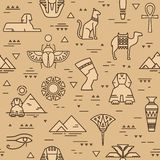 Beige seamless pattern of symbols, landmarks, and signs of Egypt from icons in a line style. vector illustration