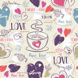 Beige seamless patterned background with cup of coffee. Red and blue valentine heart and wishes text, vector illustration. Ideal for printing onto fabric and stock illustration