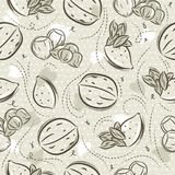 Beige Seamless Patterns with almond, hazelnut and walnut on grunge background. Ideal for printing onto fabric and paper or scrap. Booking, vector royalty free illustration