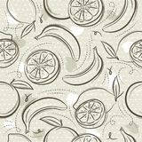 Beige Seamless Patterns  with  bananas, oranges and lemons on grunge background. Ideal for printing onto fabric and paper or scrap. Booking, vector vector illustration
