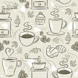 Beige seamless patterns with coffee set, cup, heart, coffee mill and text. Background with coffee set. Ideal for printing onto fab. Ric and paper or scrap vector illustration
