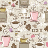 Beige seamless patterns with coffee set,cup, heart, coffee mill Stock Photo