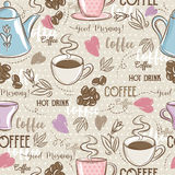 Beige seamless patterns with coffee set, heart, flower and text. Royalty Free Stock Photos